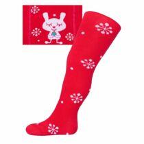 Karácsonyi pamut harisnyanadrág New Baby piros pehellyel és cicával