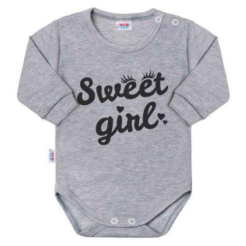 Baba hosszú ujjú body New Baby Sweet girl szürke