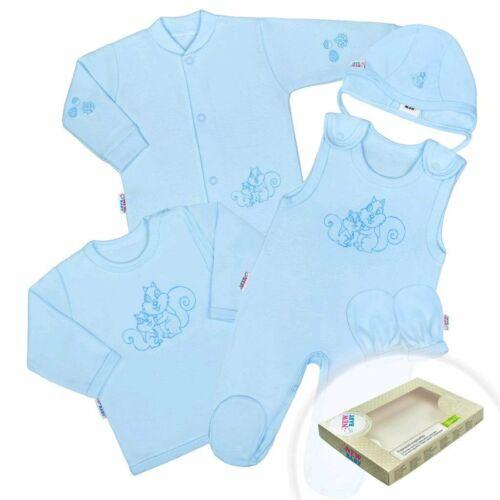5-részes pamut baba együttes New Baby Mókusokkal dobozba kék