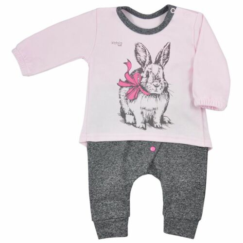 Baba szabadidőnadrág és póló Koala Anitka rózsaszín-szürke