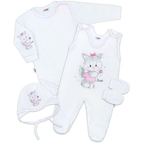 4 részes szett cica fehér-rózsaszín