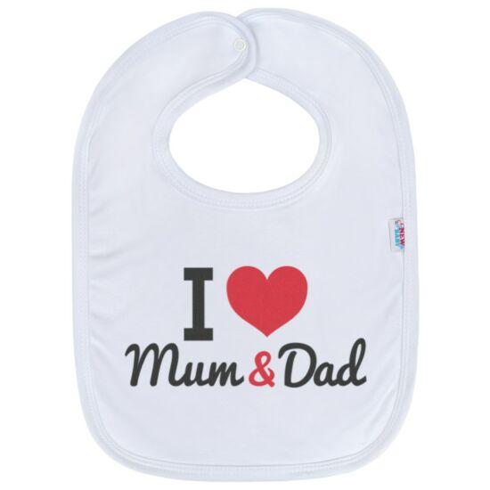Gyerek előke New Baby I love Mum and Dad